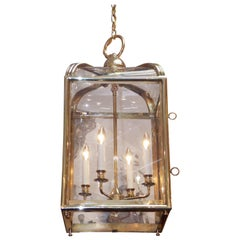 American Brass Glass Dome Hanging Lantern with Interior Light Cluster, C. 1870