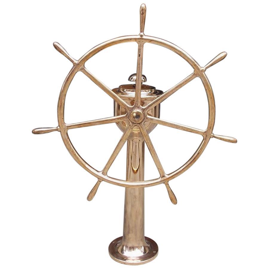American Brass Nautical Ship Wheel Mounted on Brass Geared Pedestal, Circa 1870
