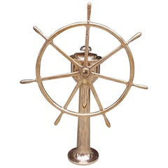 American Brass Nautical Ship Wheel Mounted on Brass Geared Pedestal, Circa 1870
