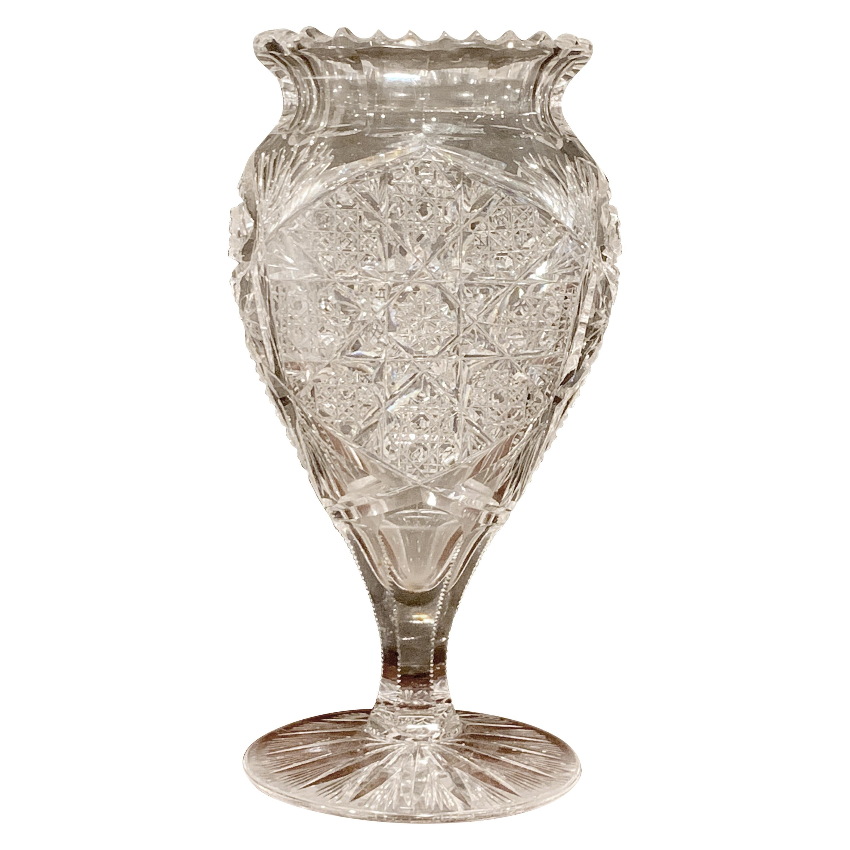 American Brilliant Cut Glass Heart Shaped Vase, Rare Form