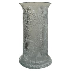 American Brilliant Cut Glass Large Umbrella/Cane Stand/Vase