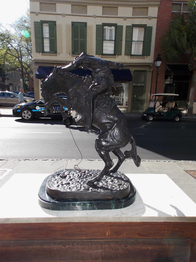American Bronze and Marble Sculpture of Bronco Buster, F. Remington, Circa 1940 For Sale 5