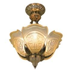 American Bronze Art Deco Semi Flushmount Chandelier