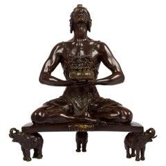 "American Bronze Sculpture ""Hindu Incense Burner"" by Malvina Hoffman circa 1920"