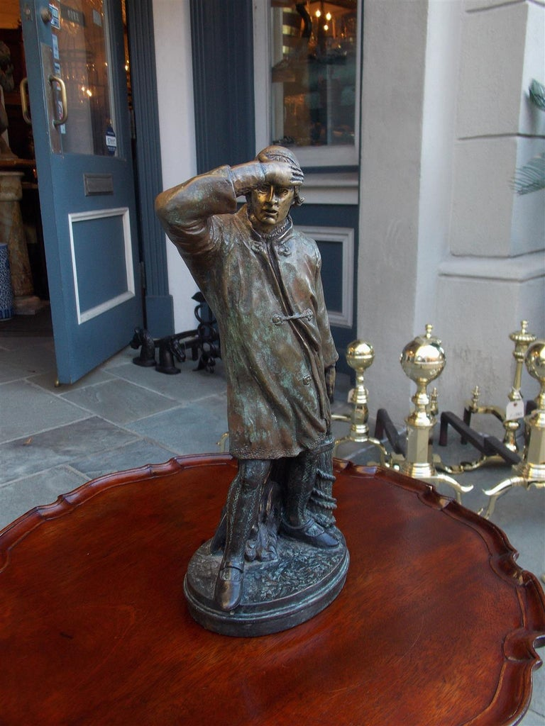 American Empire American Bronze Sea Mariner Bracing on Rope Piling Mounted to Oval Base. C. 1870 For Sale