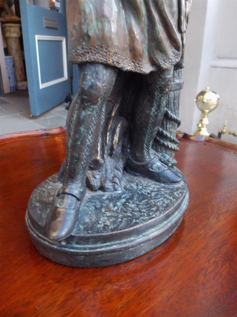 Late 19th Century American Bronze Sea Mariner Bracing on Rope Piling Mounted to Oval Base. C. 1870 For Sale