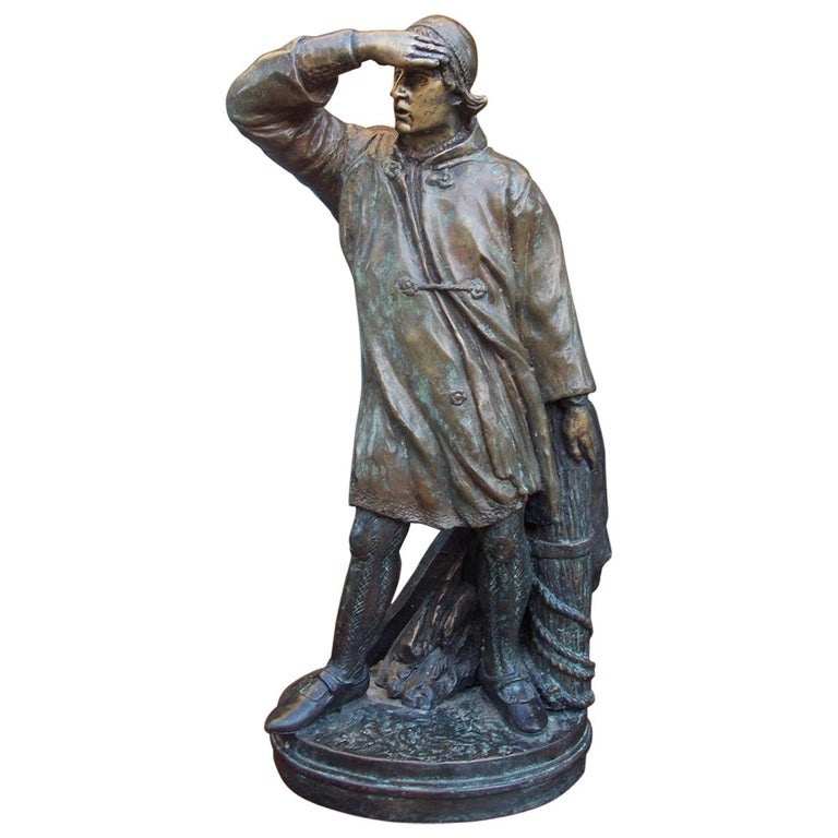 American Bronze Sea Mariner Bracing on Rope Piling Mounted to Oval Base. C. 1870 For Sale