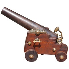 American Bronze Signal Cannon with a Steel Barrel on Mahogany Carriage, C. 1875