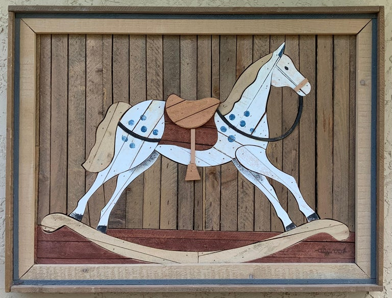 American Carved Wood Wall Hanging Rocking Horse For Sale 7