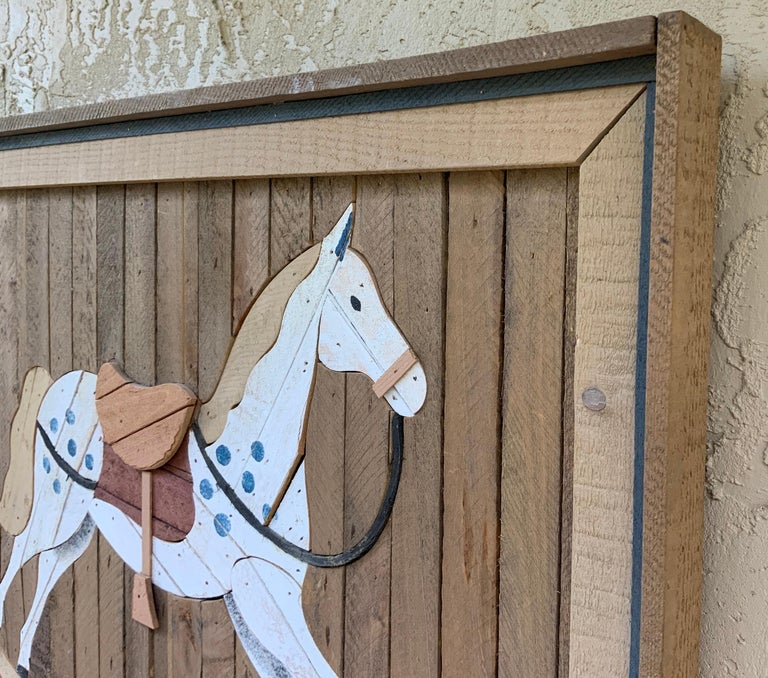 American Carved Wood Wall Hanging Rocking Horse For Sale 9