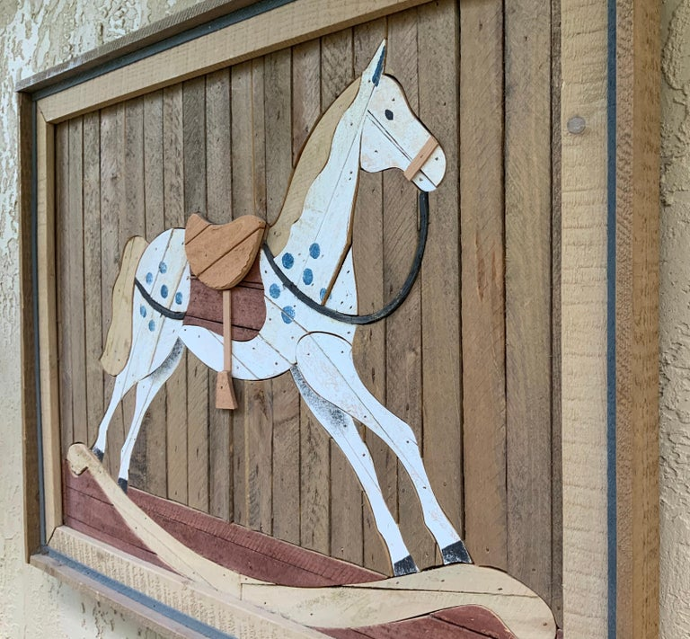 American Carved Wood Wall Hanging Rocking Horse For Sale 10