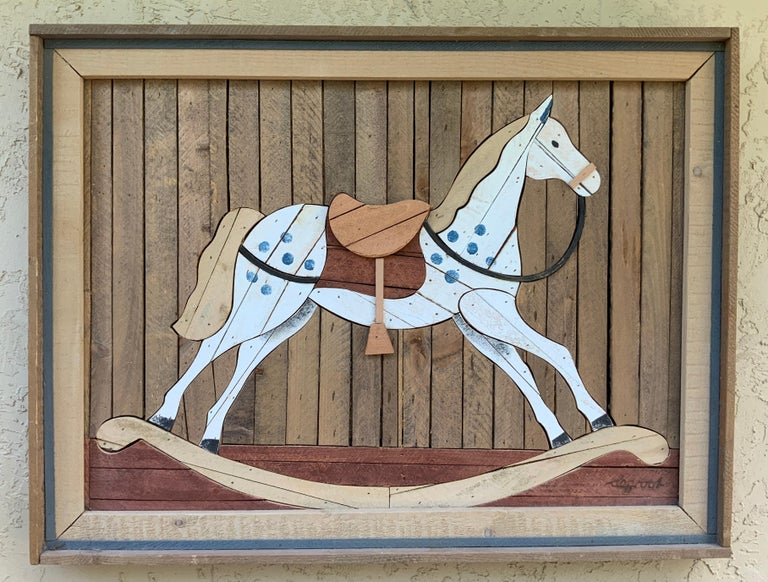 American Carved Wood Wall Hanging Rocking Horse For Sale 12