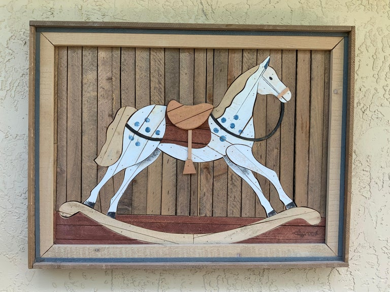 American Carved Wood Wall Hanging Rocking Horse In Good Condition For Sale In Delray Beach, FL
