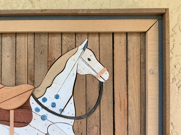 Late 20th Century American Carved Wood Wall Hanging Rocking Horse For Sale