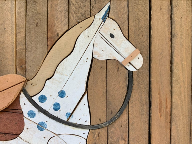American Carved Wood Wall Hanging Rocking Horse For Sale 3