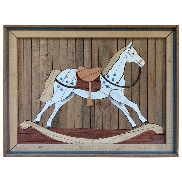 American Carved Wood Wall Hanging Rocking Horse For Sale