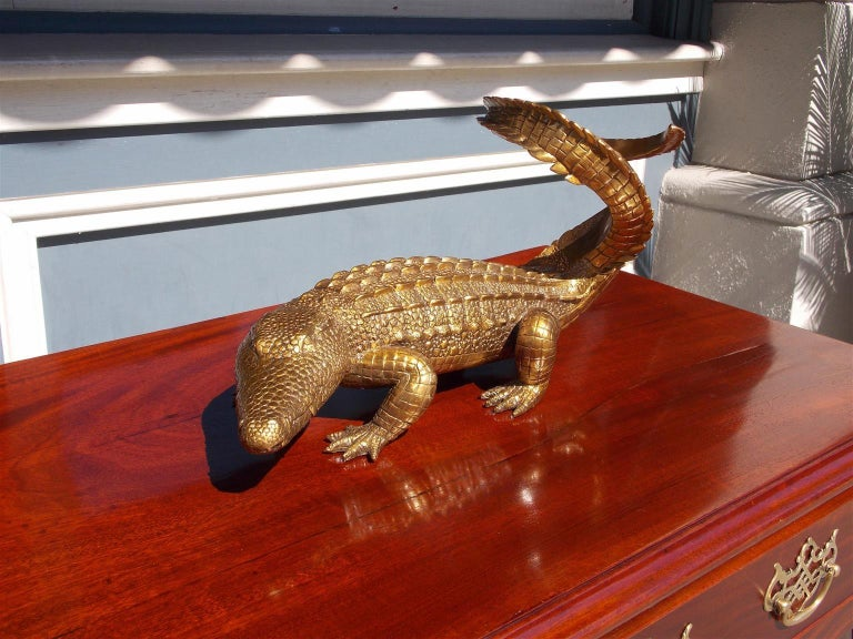 American cast brass alligator decorative wine bottle holder, 20th century.