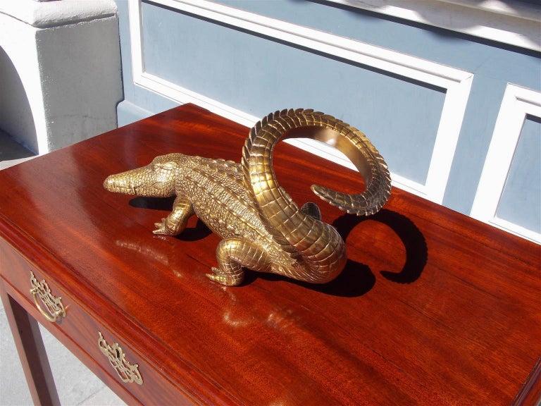 Modern American Cast Brass Alligator Decorative Wine Bottle Holder, 20th Century For Sale
