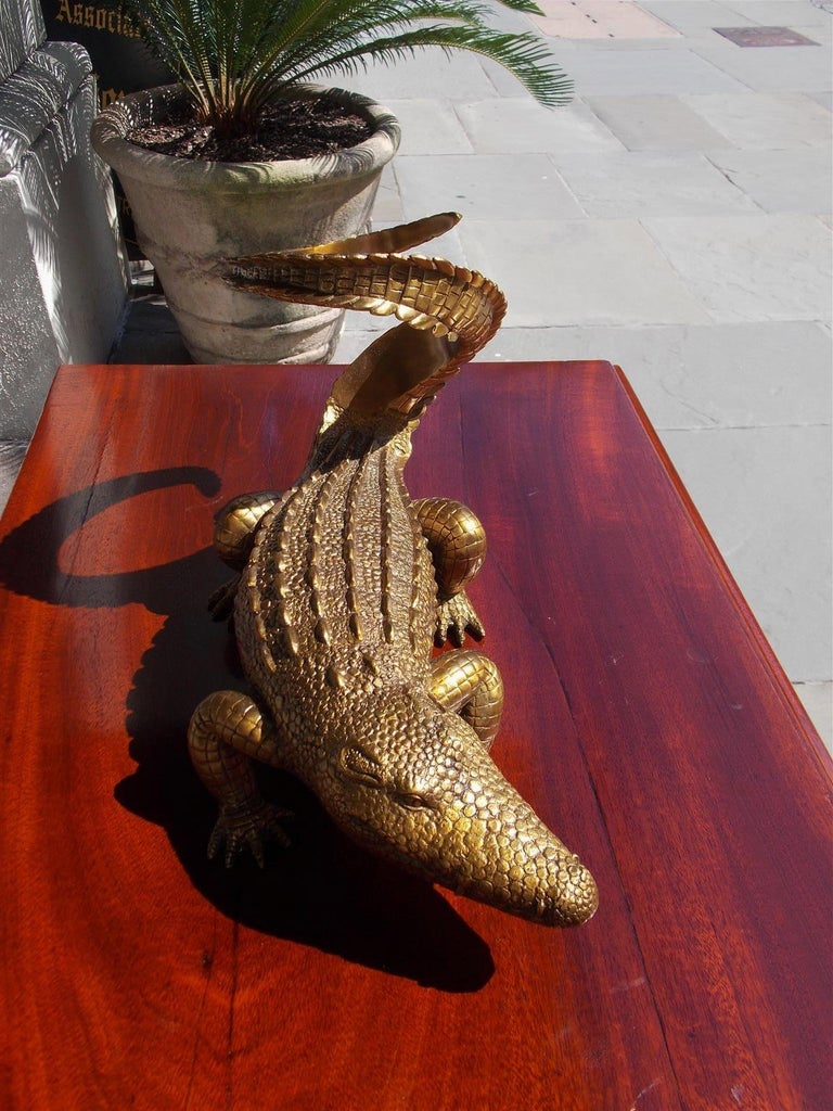 American Cast Brass Alligator Decorative Wine Bottle Holder, 20th Century For Sale 1