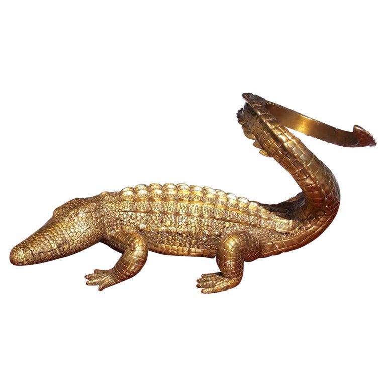 American Cast Brass Alligator Decorative Wine Bottle Holder, 20th Century For Sale
