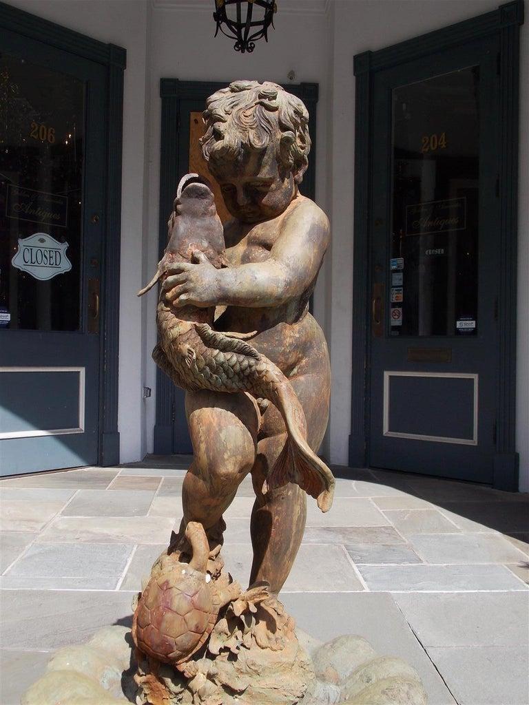 American Cast Bronze Garden Fountain with Figural Boy