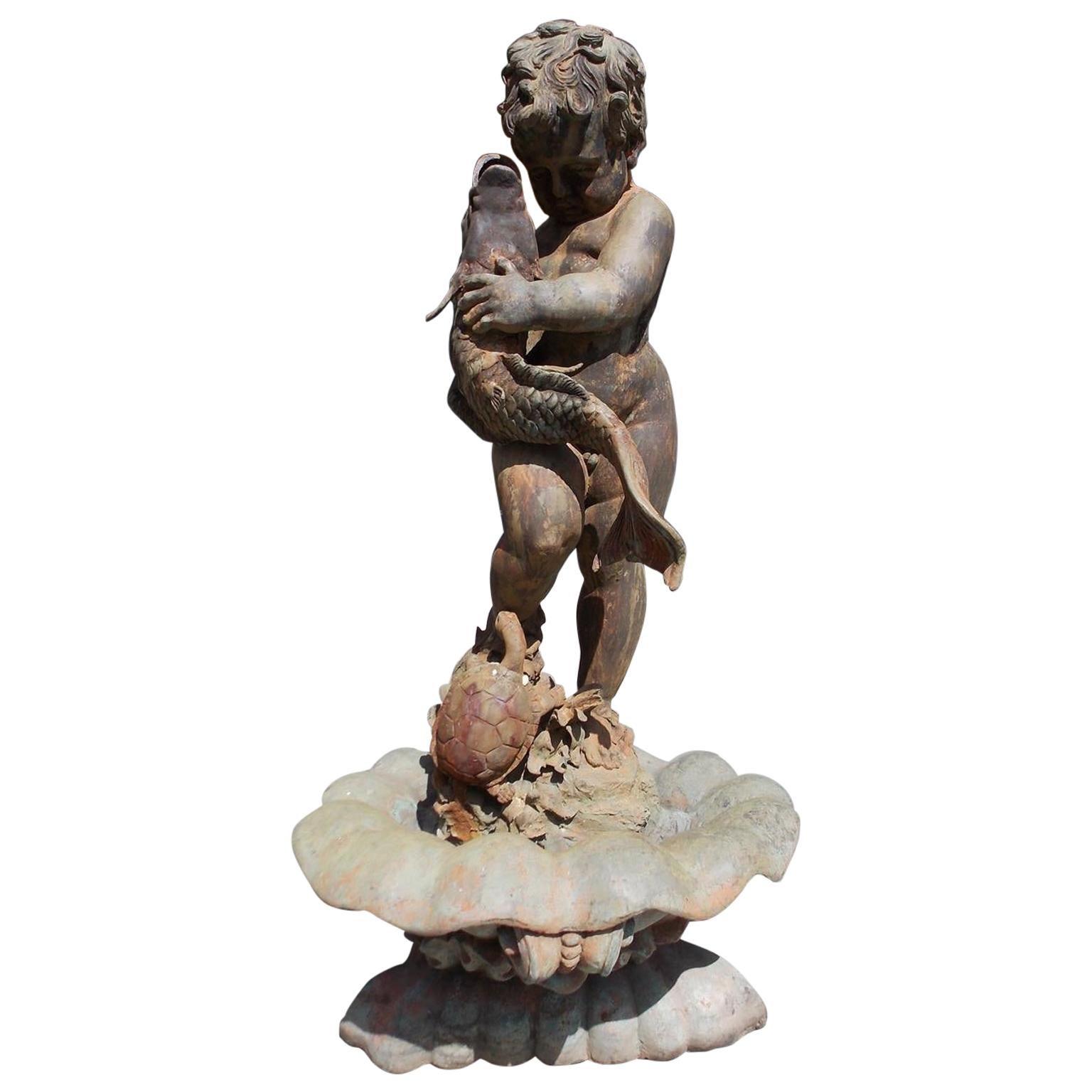 American Cast Bronze Garden Fountain with Figural Boy Holding Koi Fish. C. 1870