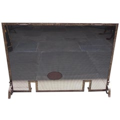 American Cast Iron and Wire Fire Place Screen with Flanking Handles, Circa 1860