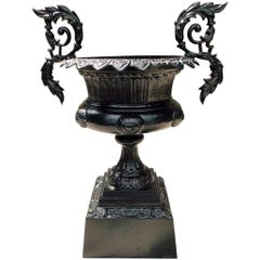 American Cast Iron Campana Floral Acanthus Garden Urn on Squared Plinth C. 1850