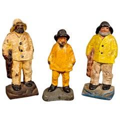 "American Cast Iron ""Old Salt"" Maine Fisherman Doorstops or Bookends, Hubley"