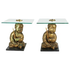 American Chalkware Seated Asian Infant Figure Side Table
