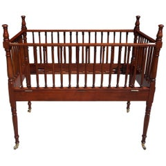 American Charleston Mahogany Child's Crib with Bulbous Spindles on Casters, 1800