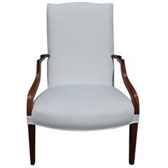 American Cherry Martha Washington Serpentine Upholstered Armchair, Circa 1810