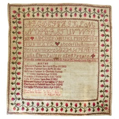 """American Child's Sampler, Circa 1845 by """"Julia Ellen Painter Aged 9 Years Old"""""""