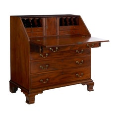 American Chippendale Mahogany Antique Slant-Front Writing Desk, circa 1790