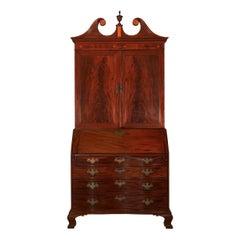 American Chippendale Mahogany Bookcase over Secretary Desk, Massachusetts