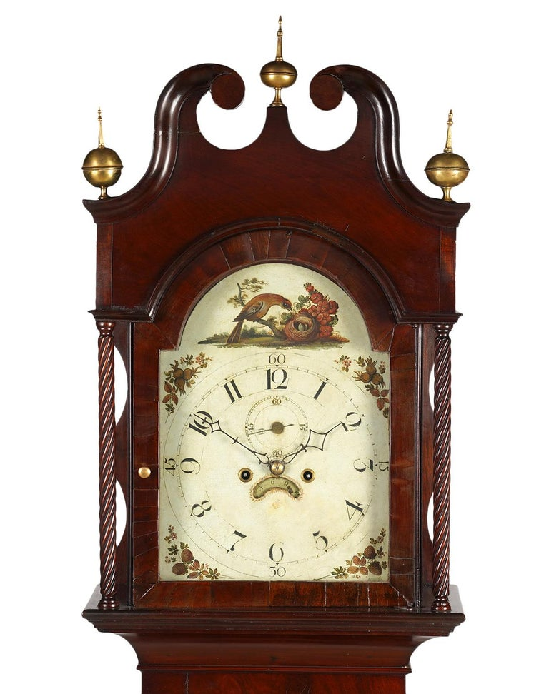 This stately American Chippendale tall case grandfathers 8 day mahogany clock features a double scroll split pediment cresting centering a brass globe finial and flanked by identical finials. The painted dial is decorated with bird nest motif and