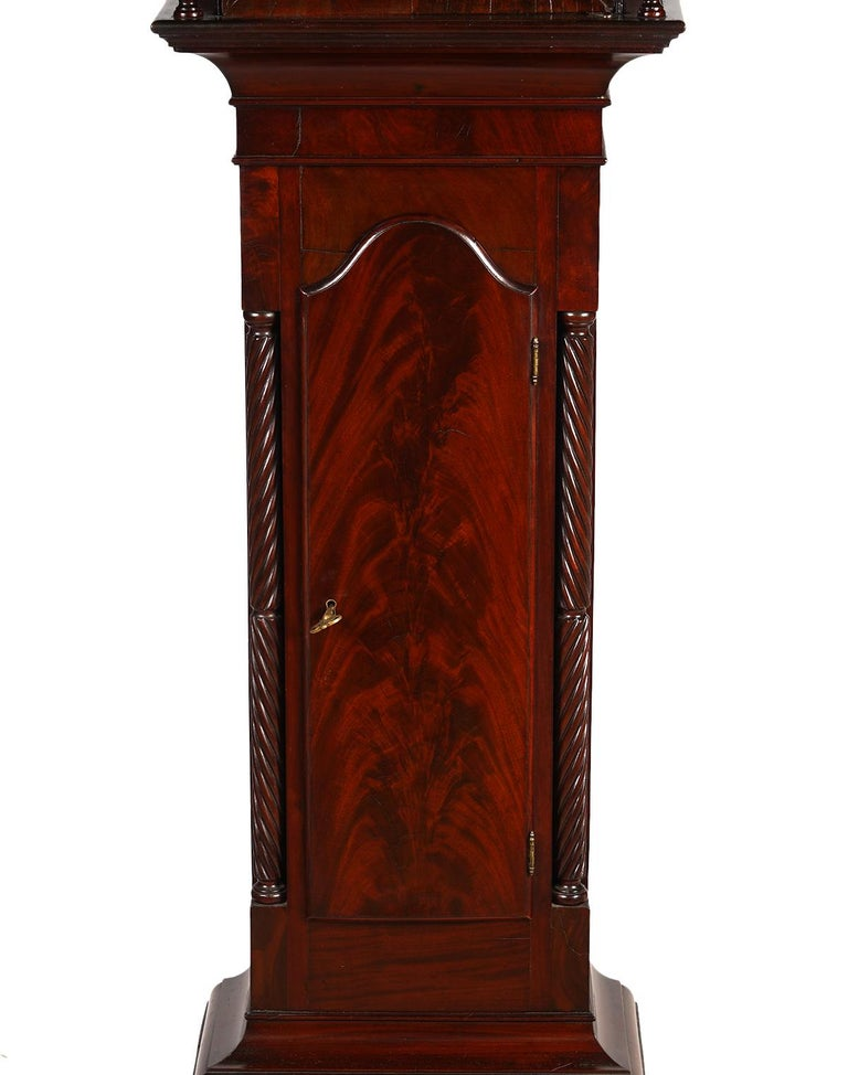 Hand-Painted American Chippendale Mahogany Tall Case 8 Day Mahogany Clock, circa 1830 For Sale