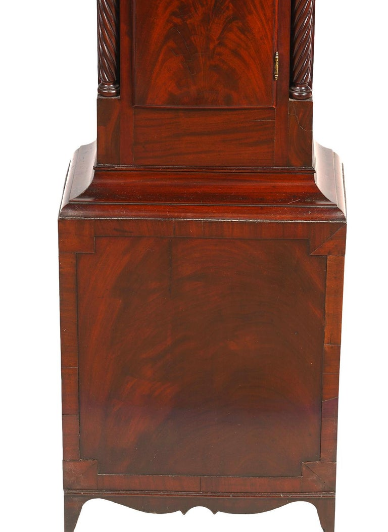 American Chippendale Mahogany Tall Case 8 Day Mahogany Clock, circa 1830 In Good Condition For Sale In Ft. Lauderdale, FL