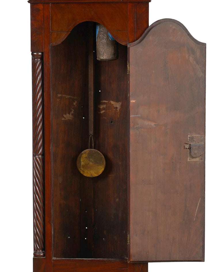 19th Century American Chippendale Mahogany Tall Case 8 Day Mahogany Clock, circa 1830 For Sale