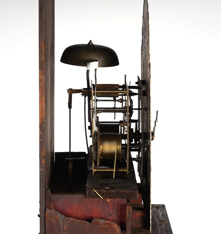 Metal American Chippendale Mahogany Tall Case 8 Day Mahogany Clock, circa 1830 For Sale