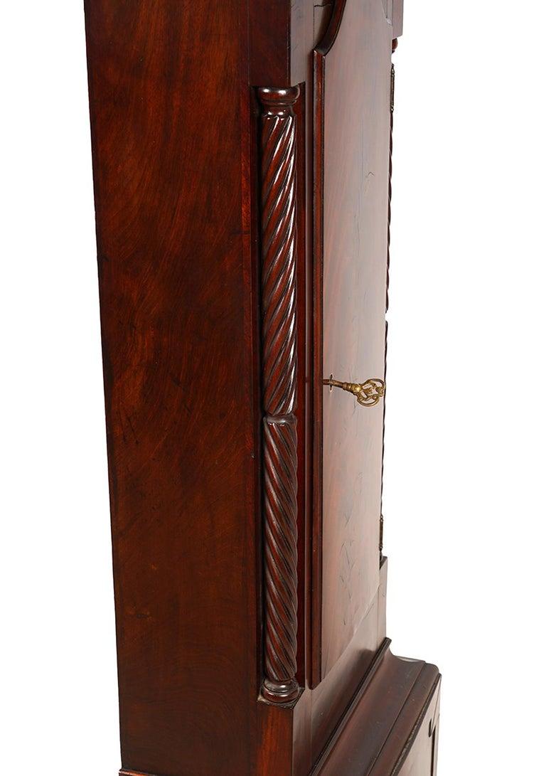 American Chippendale Mahogany Tall Case 8 Day Mahogany Clock, circa 1830 For Sale 1