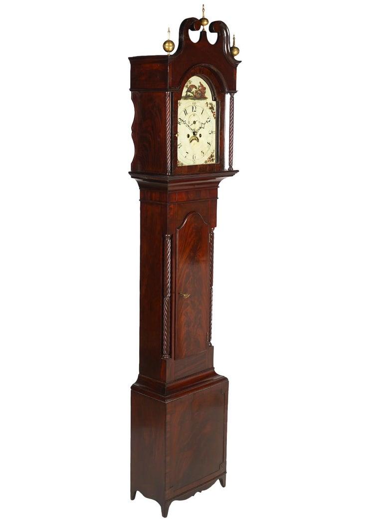 American Chippendale Mahogany Tall Case 8 Day Mahogany Clock, circa 1830 For Sale 3