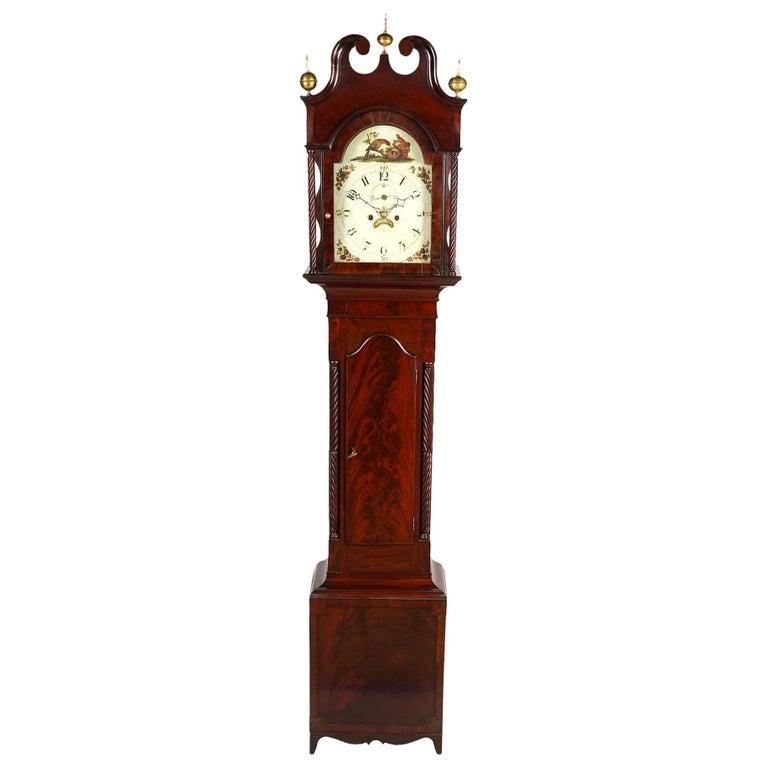 American Chippendale Mahogany Tall Case 8 Day Mahogany Clock, circa 1830 For Sale