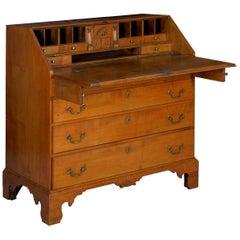 American Chippendale Maple Antique Slant-Front Writing Desk, Massachusetts