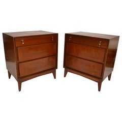 American Classic Wood Brass Night Stand Bedside Tables Mid-Century Modern - Pair