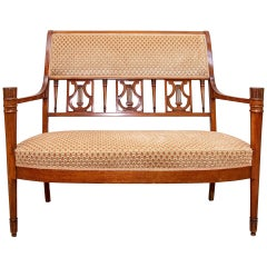 American Classical Antique Carved Mahogany Settee