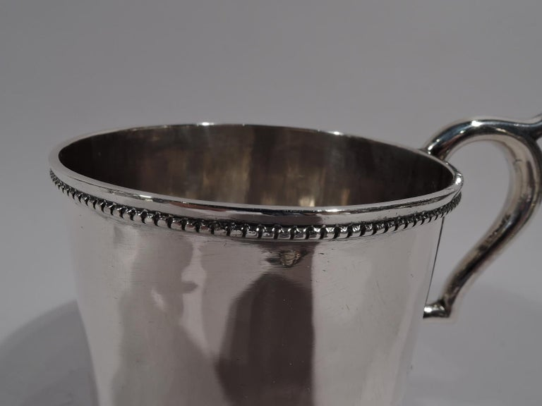 19th Century American Classical Coin Silver Baby Cup by Illinois State Society For Sale