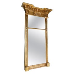 American Classical Gilt Mirror with Acorn, Shell, and Medallion Carvings C. 1815