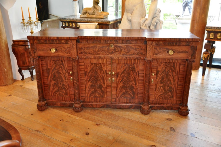 19th Century American Classical Period Mahogany Sideboard For Sale