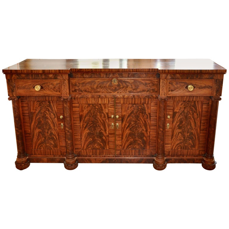 American Classical Period Mahogany Sideboard For Sale